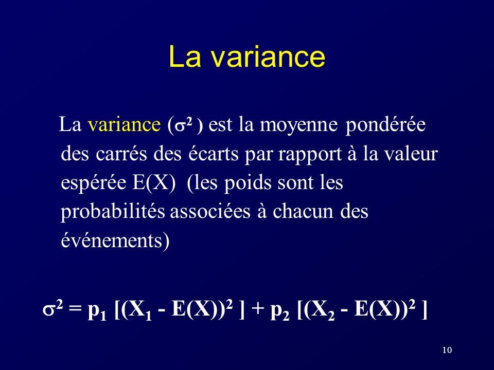 La variance 2 = p1 [(X1 - E(X))2 ] + p2 [(X2 - E(X))2 ]